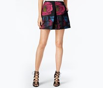 Women Pleated Floral-Print Mini Skirt, Black Combo
