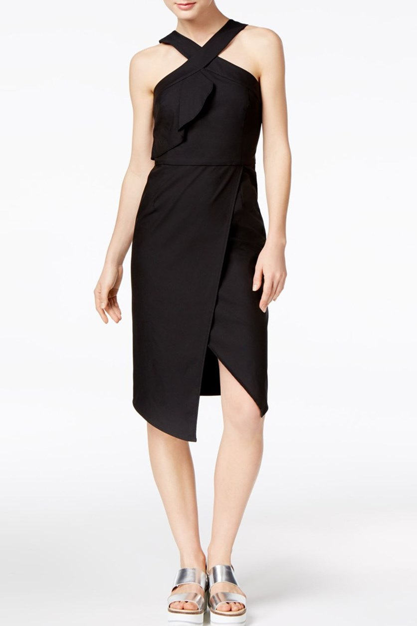 Ruffled Tulip-Hem Dress, Black