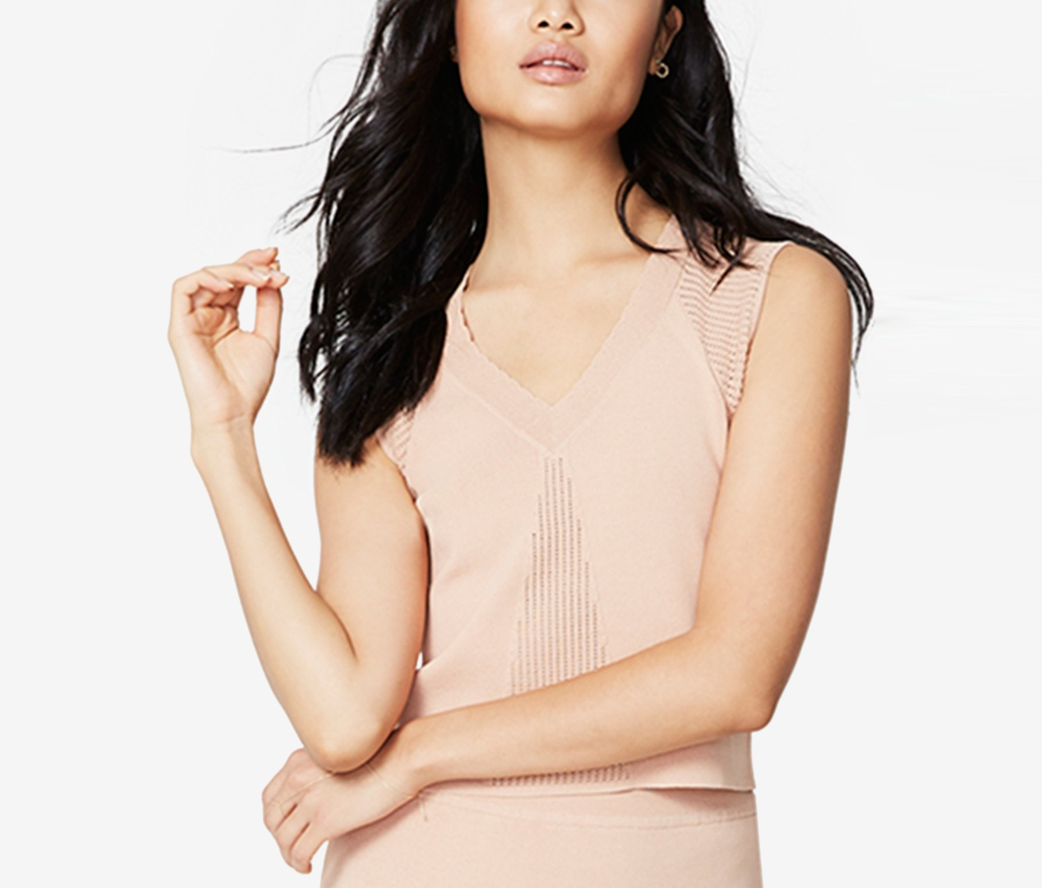 Rachel Roy V-Neck Crop Top, Pink Opal