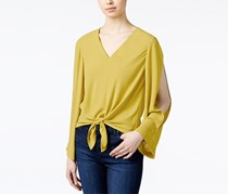 Rachel Roy Tie-Front Cold-Shoulder Blouse, Chartreuse