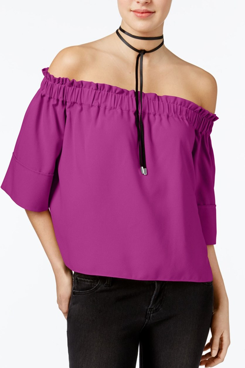 Shirred Off-The-Shoulder Top, Orchid