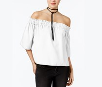 Rachel Roy Shirred Off-The-Shoulder Top, White