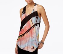 Rachel Roy Printed Tie-Back Top, Black/Pink/Grey