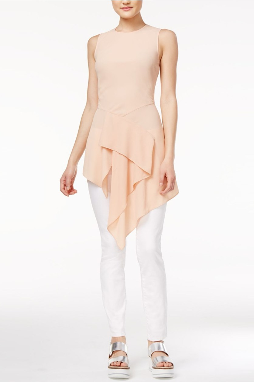 Draped Asymmetrical Tunic, Pink Opal