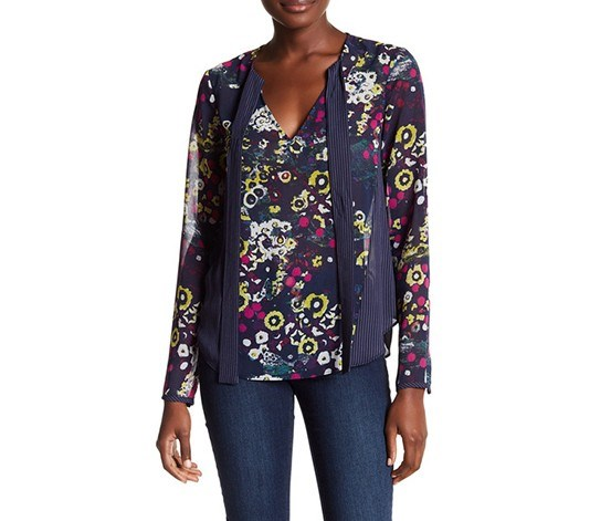 Printed V-Neck Blouse, Navy/Orchid Combo