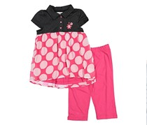Buster Brown 2 Pieces Embroidered Floral Set, Denim/Pink/White