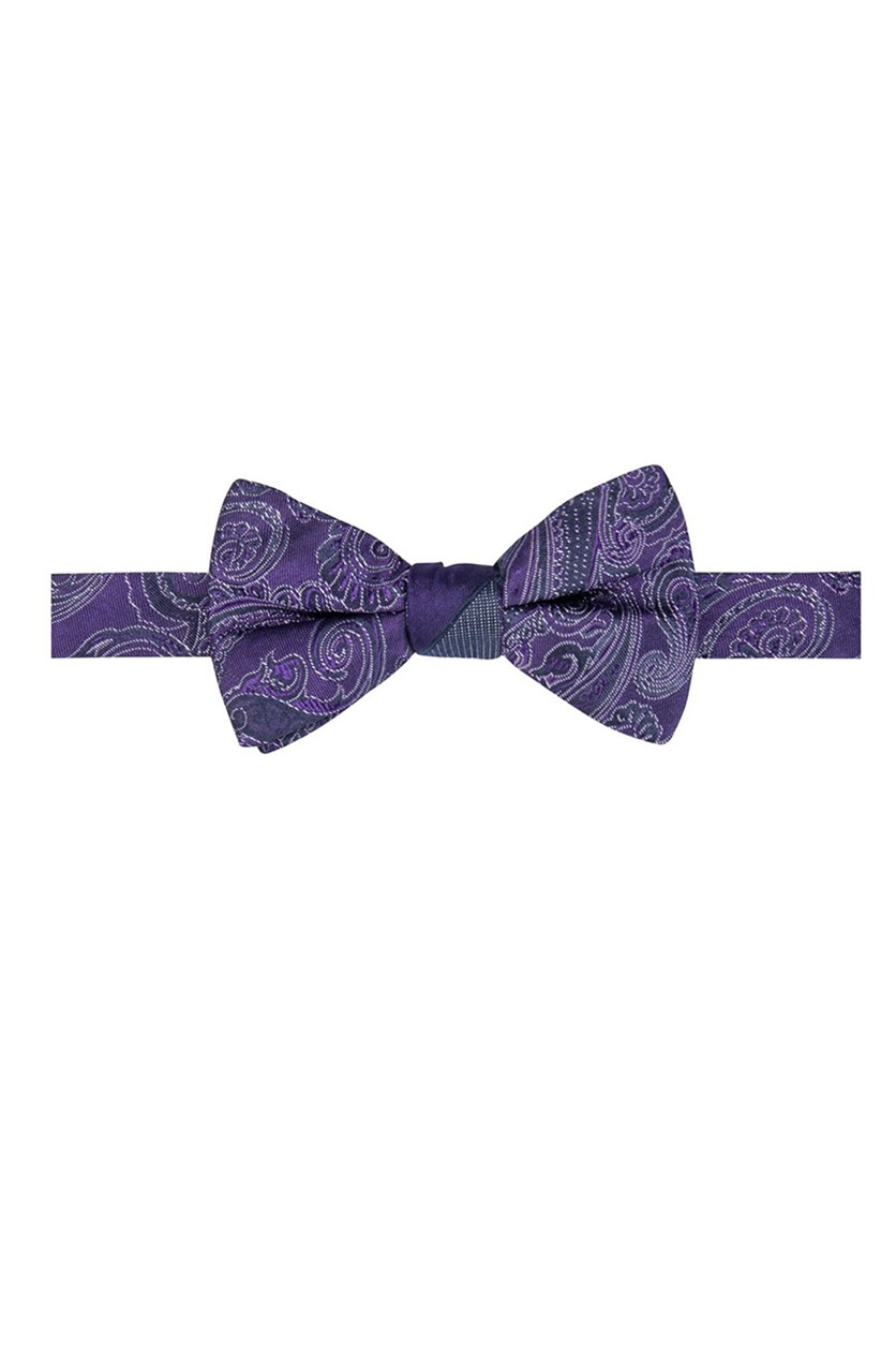 Men's Reversible Paisley Stripe Pre-Tied Bow Tie, Purple