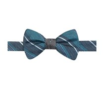 Ryan Seacrest Distinction Reversible Melange Stripe Dot To-Tie Bow Tie, Turq/Grey