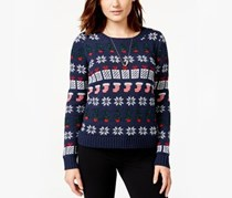 Juniors Shine Holiday Pullover Sweater,Navy