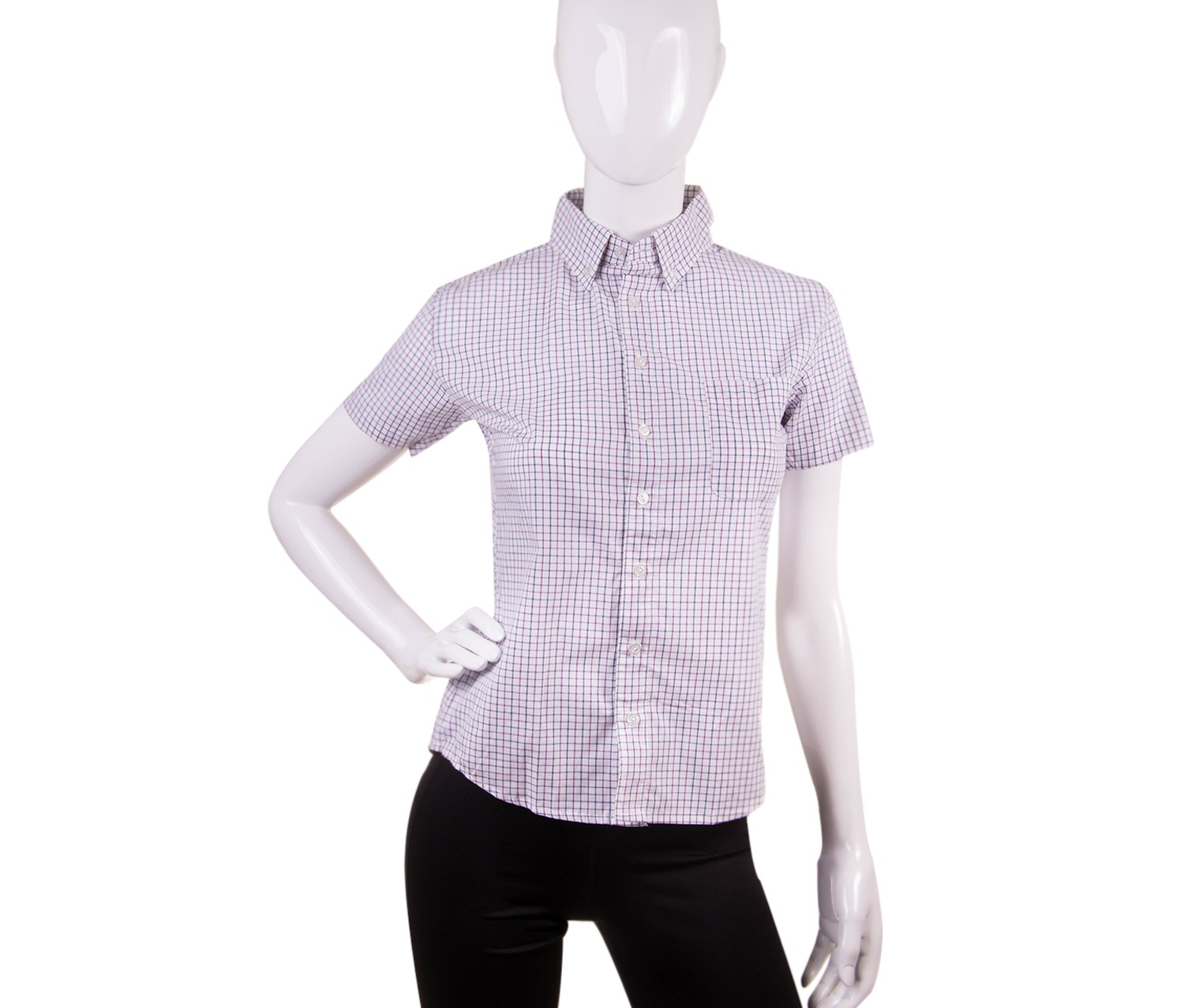 American Apparel Check Short Sleeve Button Down Shirt, Purple/Pink