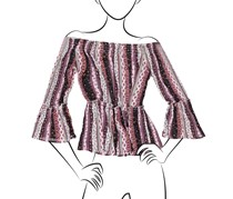 No Comment Printed Off the Shoulder Smocked Top, Gauze