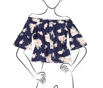 No Comment Off Shoulder Trumpet Sleeve Faux Button Front Top, Navy Floral