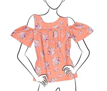 No Comment Ladies Woven Cold Shoulder Top w/ Ruffle Edge, Blossoming Garden/Burnt Coral Sea Fog/Orchid Haze
