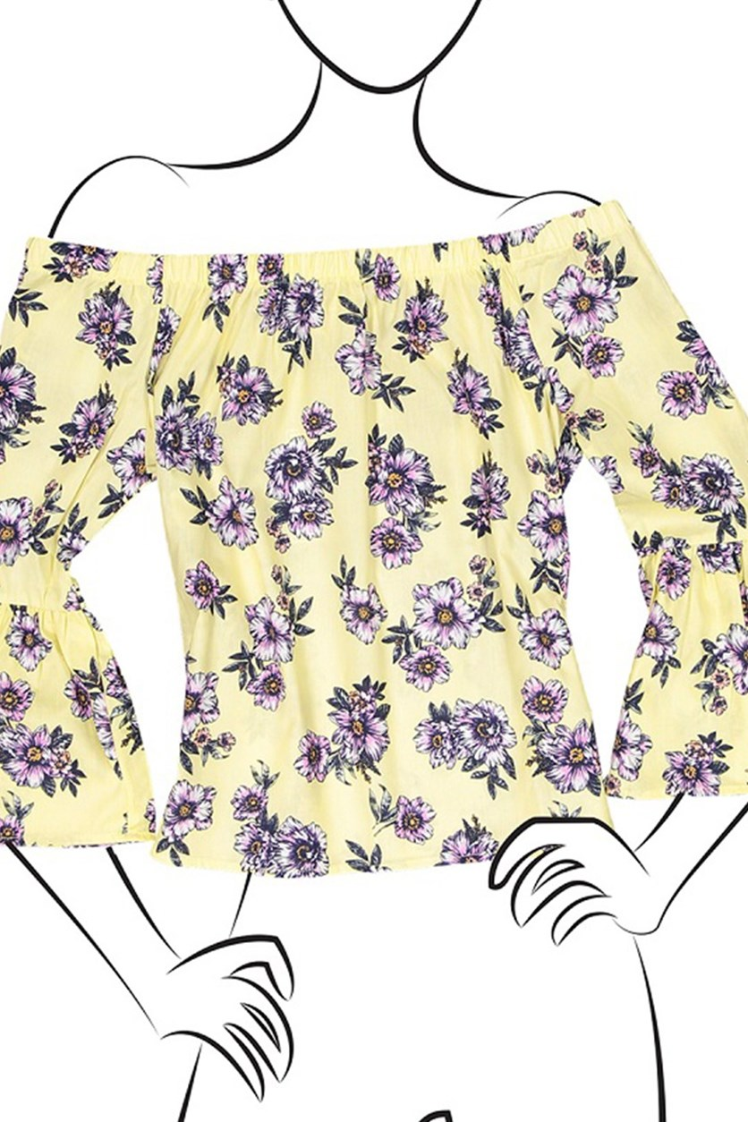 Ladies Woven Floral Printed Off the Shoulder Top, Lemon