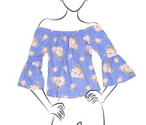 Ladies Woven Floral Printed Off the Shoulder Top, Persian Jewel
