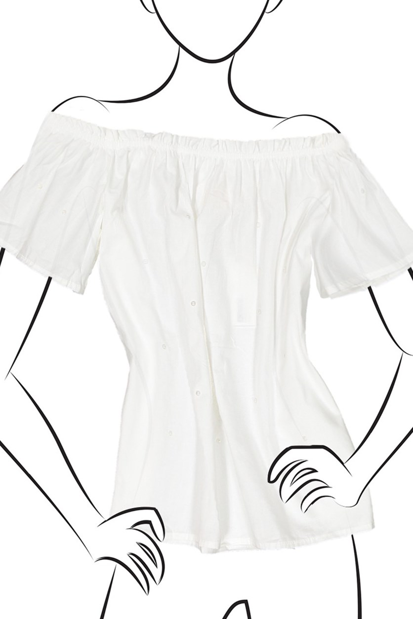 Off Shoulder With Ruffle Top, White