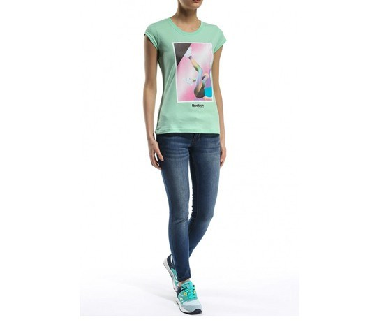 Women's Print T-Shirt, Mint Glow