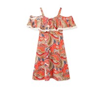 Speechless Off-The-Shoulder Paisley Print Dress, Coral/Blue