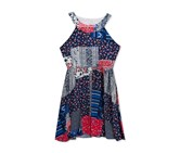 Rare Editions Girls Patchwork Dress, Navy/Red Combo