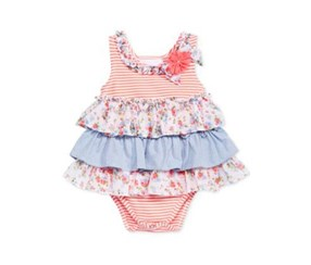Bonnie Baby Mixed-Print Tiered Dress, Baby Peach
