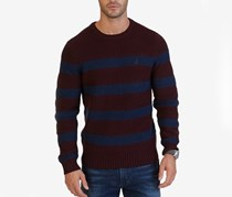 Men's Stripe Crew Neck Sweater, Novelty