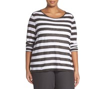 Eileen Fisher Stripe Knit Ballet Neck Top, Bark