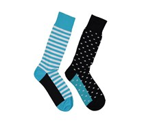 Stacy Adams Combed Cotton Mis-Matched Sock, Black/Blue