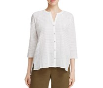 Eileen Fisher Lightweight Grid Knit Top, White