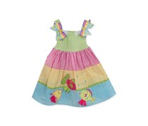 Rare Editions Gingham Fish Dress, Lime/Pink/Blue/Yellow