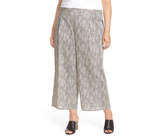 Eileen Fisher Plus Snake Print Cropped Wide Leg Pants, Natural
