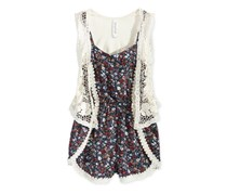 Beautees Girls Romper and Lace Vest, Navy multi