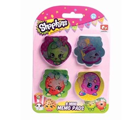 Shopkins Mini Memo Pads 4 Pieces, Green/Red/Gold