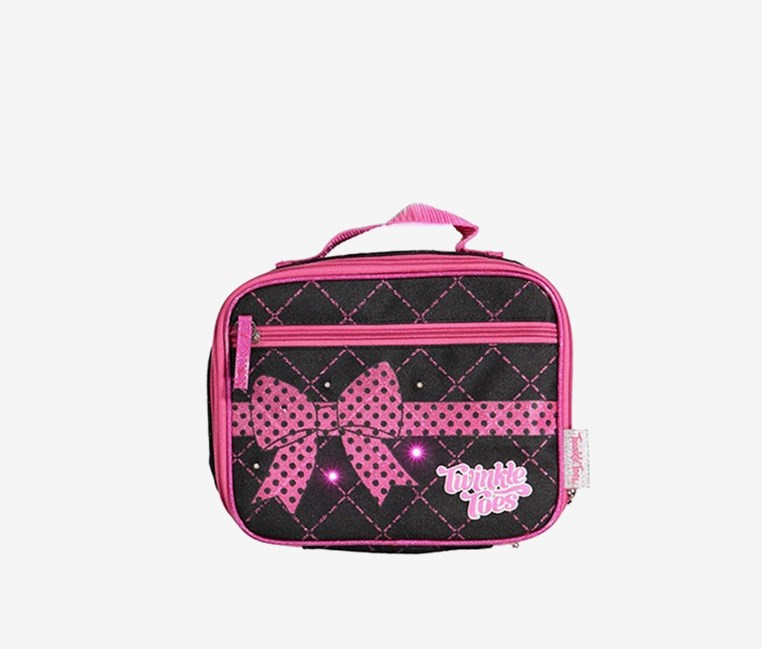 Diamond Quilt w/ Twinkle Lights Lunch Box, Black/Pink