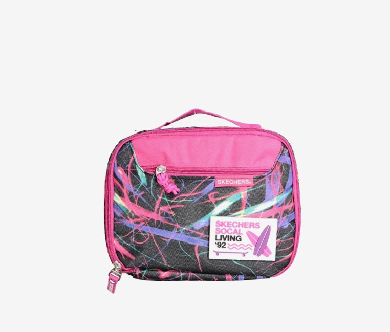 """Social Living"" Insulated Lunchbox, Pink/Black"