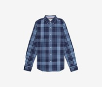 Flag & Anthem Men's Long Sleeve Plaid Dress Shirt, Navy Blue