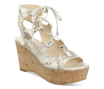 Marc Fisher Smarty Wedge Lace-Up Sandals, White Snake