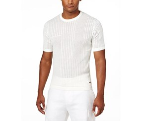 Sean John Mens Knit Eyelet Sweater, Cream