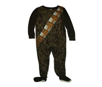 Star Wars Chewbacca Boys One Piece Footed Pajama,Brown