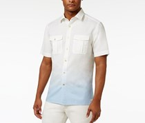 Sean John Mens Regular Linen Dip Shirt, White Combo