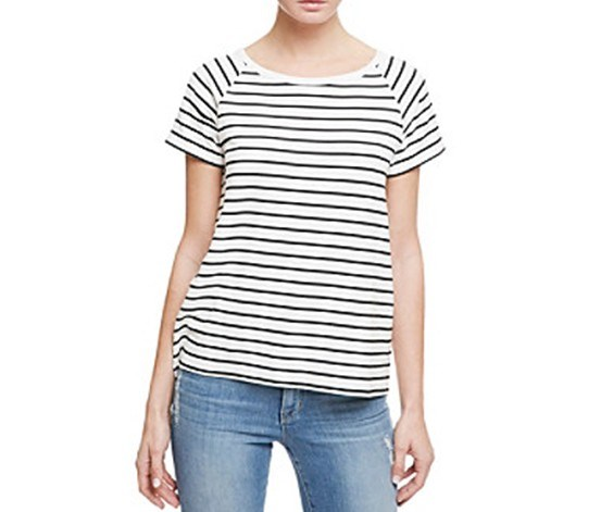 Women Striped Lace-Up Top, White/Black Stripe