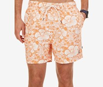 Nautica Mens Tropic Floral-Print Swim Trunks, Fireside