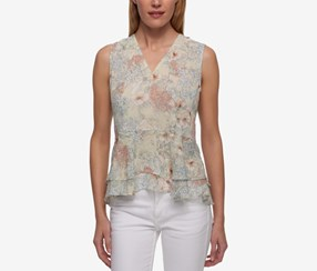 Tommy Hilfiger Floral-Print Crepe Peplum Top, Yellow Combo