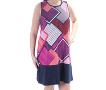 Tommy Hilfiger Womens Geometric Sleeveless Shift Dress, Navy Combo