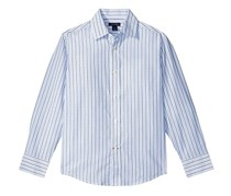 Boys' Twill Stripe Button-Up Shirt, Blue