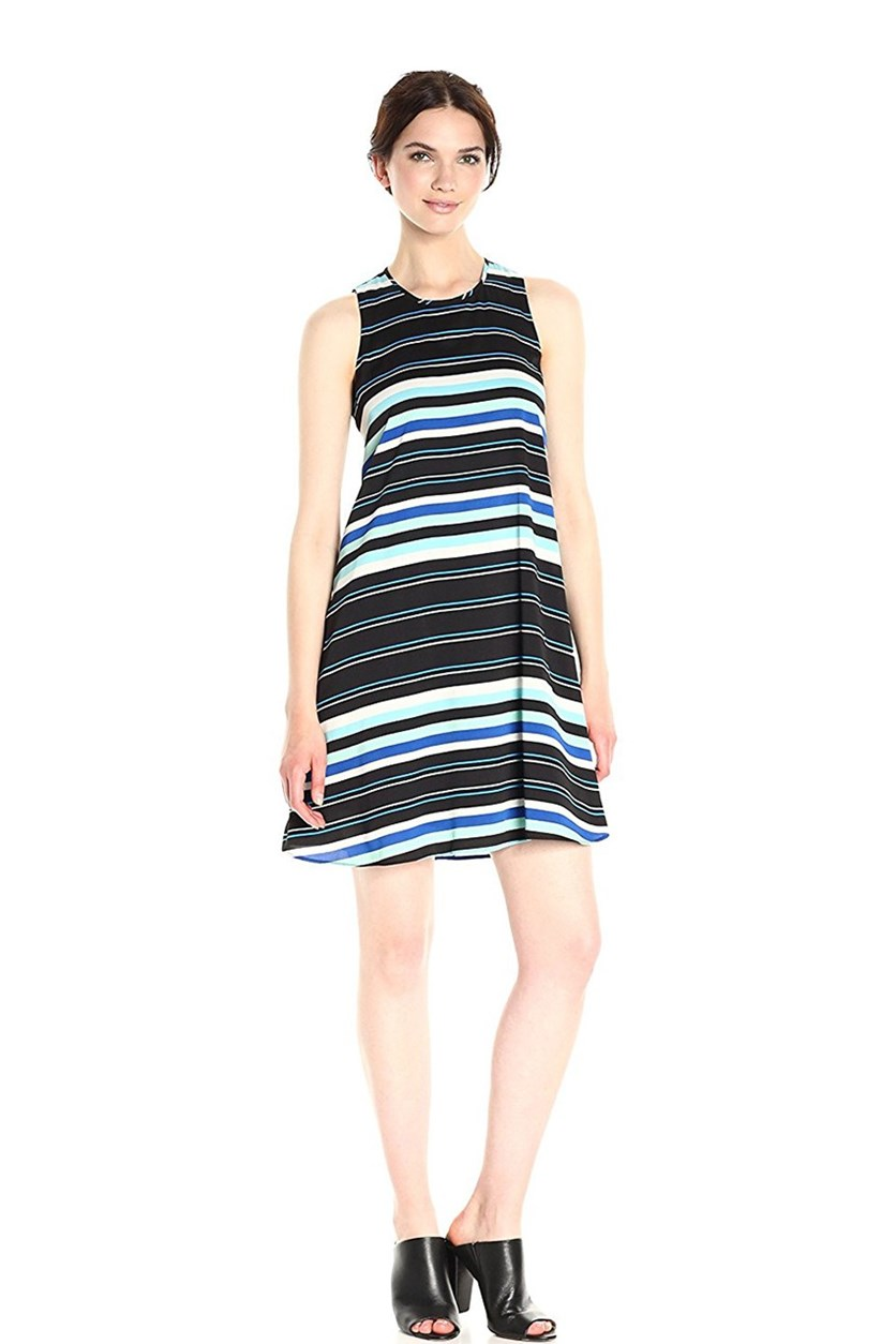 Striped Shift Dress, Black/Blue