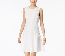 Tommy Hilfiger Eyelet Lace Fit & Flare Dress, White