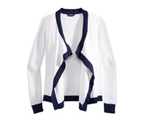 Tommy Hilfiger Texture-Blocked Draped-Front Cardigan, White