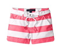 Tommy Hilfiger Belted Rugby Stripe Shorts, Pink/White