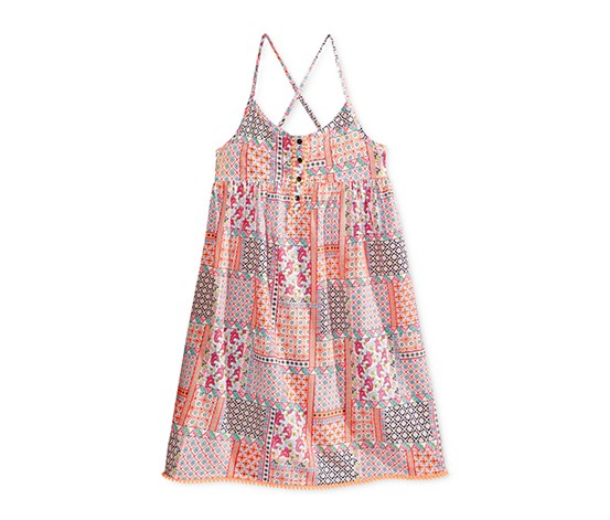 Tommy Hilfiger Girls  Button-Front Boho Dress, Bright Melon