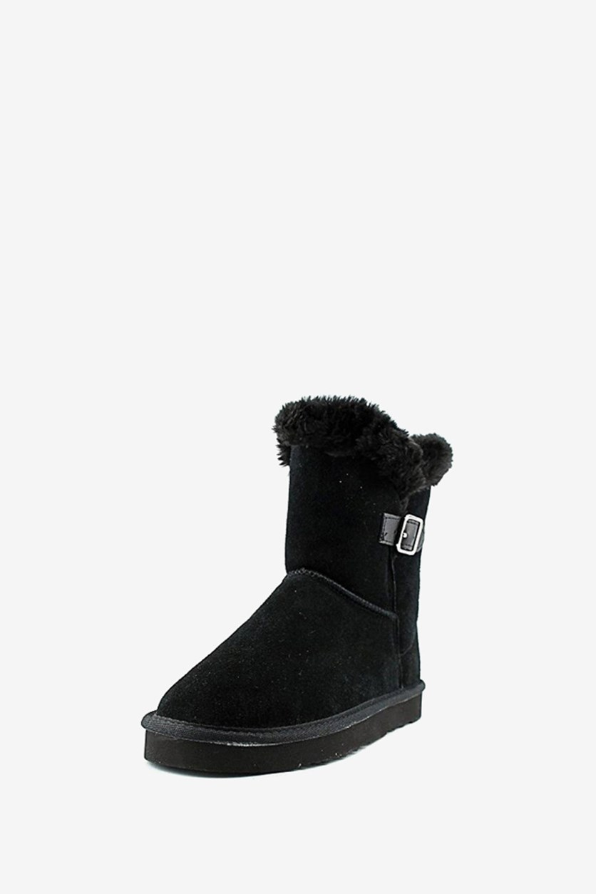 Women's Tiny Low Shaft Faux-Fur Cold Weather Boots, Black